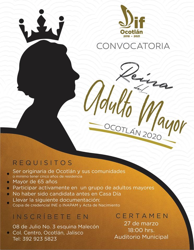 DIF Ocotlán lanza convocatoria para Reina del Adulto Mayor 2020